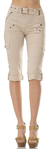 (27207R) Helium London Womens Stretch Poplin Cargo Capri with