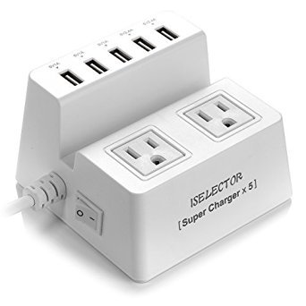 Iselector 40W 5-Port Universal USB Charger 2-Outlet Power Strip