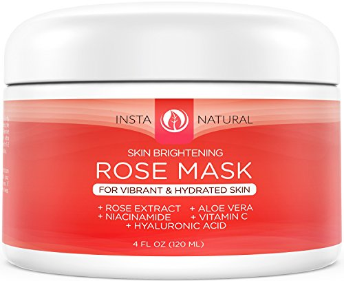 InstaNatural Facial Rose Mask - Skin Brightening Mask For