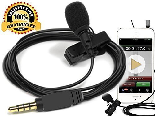 Best Lavalier Clip on Microphone Condenser- Lapel Recording Mic