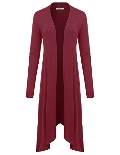 JJ Perfection Women\'s Lightweight Long Coattail Open Front Cardigan