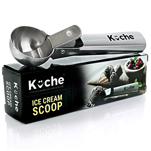 KUCHE Easy Trigger Stainless Steel Ice Cream Scoop, Cookie