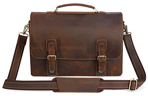Kattee Men's Vintage Genuine Leather Briefcase Messenger Bag, Fit