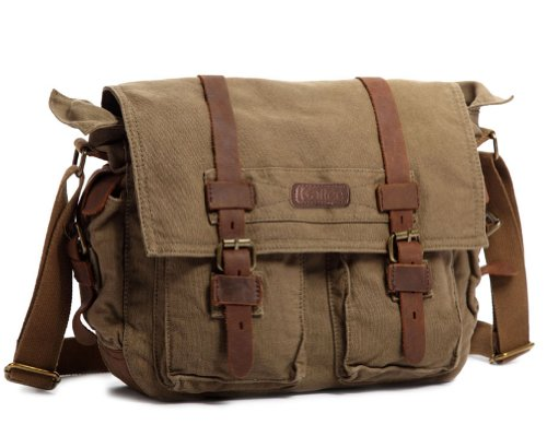 $53.99 Kattee Classic Military Canvas Shoulder Messenger Bag Leather Straps