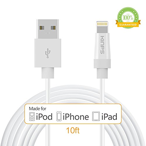 Apple Cable, Apple MFI Certified Lightning Cable- Kinps 10ft/3m