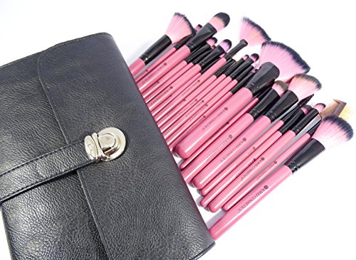 Professional Makeup Brushes - 22 Piece Complete Pink Cosmetic