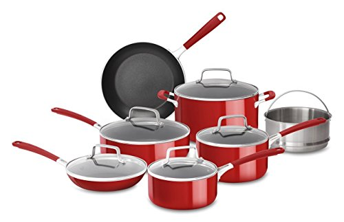 KitchenAid KC2AS12ER Aluminum Nonstick 12 Piece Cookware Set, Empire
