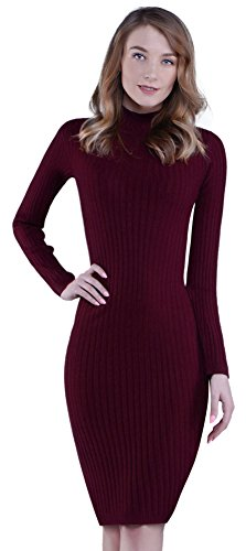 KnitLove® Women' Fitted Turtleneck Long Sleeve Knit Bodycon Dress(XL,Red