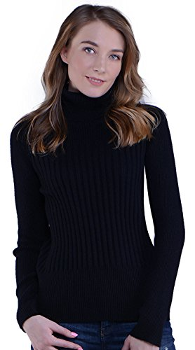 Knitlove Women\'s Classic Turtleneck Long Sleeve Sweater (XL, Black)