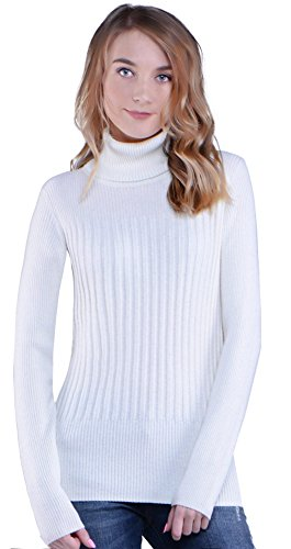Knitlove Women's Classic Turtleneck Long Sleeve Sweater (M, White)