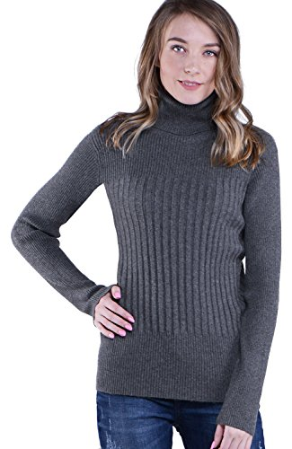Knitlove Women's Classic Turtleneck Long Sleeve Sweater (M, Dark