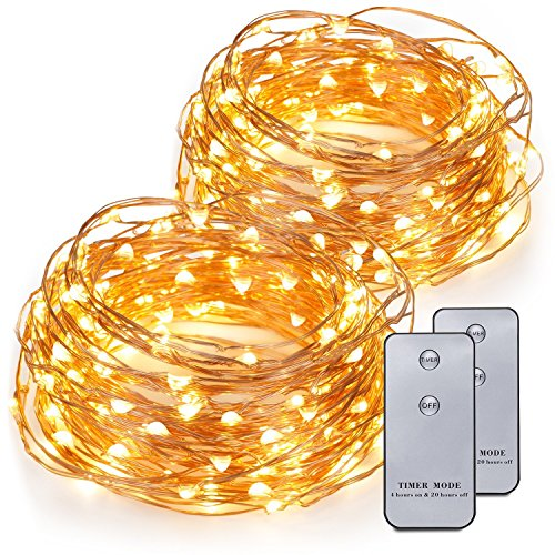 Kohree 2 Pack 120 LEDs Battery Operated String Light