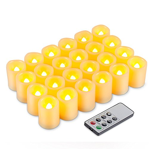 Kohree LED Votive Unscented Battery Powered Candles with Remote