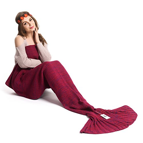 Kpblis Knitted Mermaid Tail 75-Inch-by-31-Inch Blanket Violet