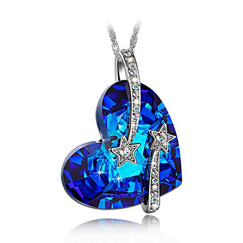 "LadyColour ""Venus"" Swarovski Crystals Heart Sapphire Pendant Necklace,Women Fashion"