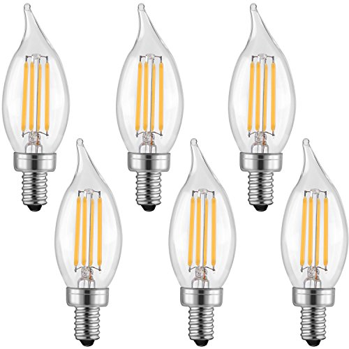 LETO CA11 4W Candelabra LED Bulbs Dimmable ,UL Listed-40W