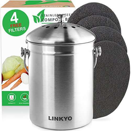 LINKYO Compost Bin - 4 Filters Stainless Steel Kitchen
