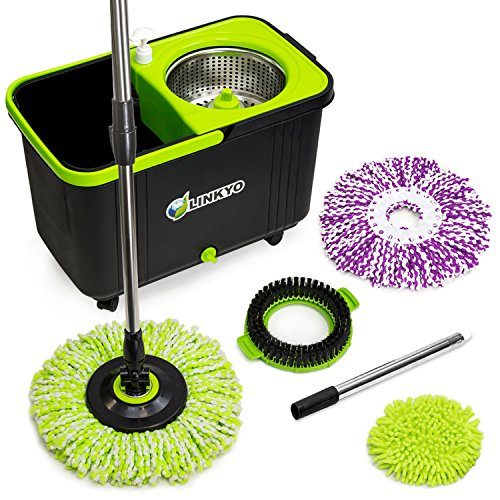 LINKYO Spin Mop Bucket System - Microfiber Mop with