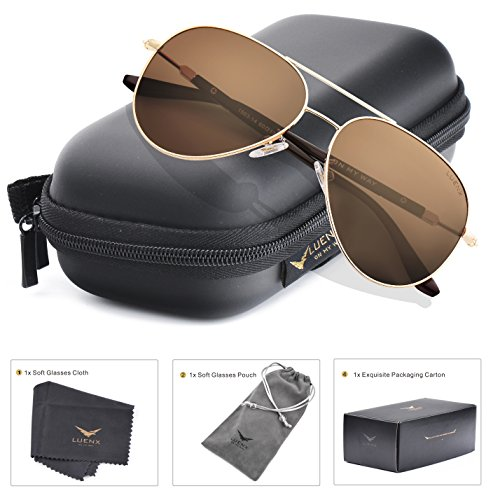 LUENX Aviator Sunglasses Mens Womens Polarized Brown Lens Gold
