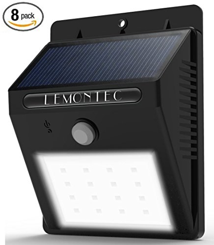 Solar Lights, Lemontec Garden Waterproof Wireless Security Bright Motion