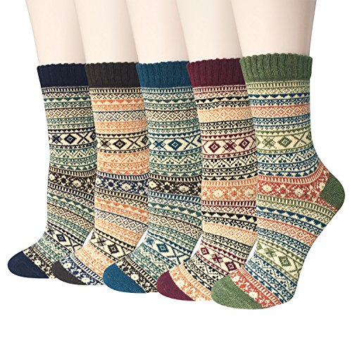 Womens 5 Pairs Vintage Style Winter Warm Wool Thick