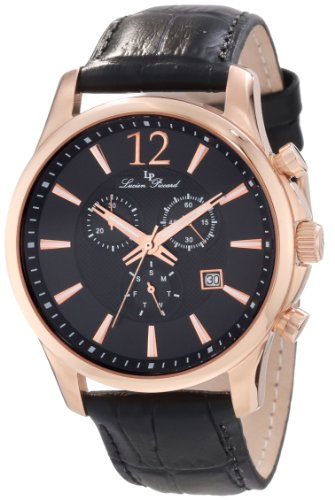 $224.99 Lucien Piccard Men's 11567-RG-01 Adamello Gold-Tone Watch with Black