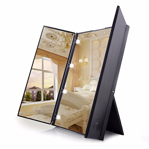 Travel Mirror LuckyFine Tri-Fold Lighted Led Mirror / Lighted
