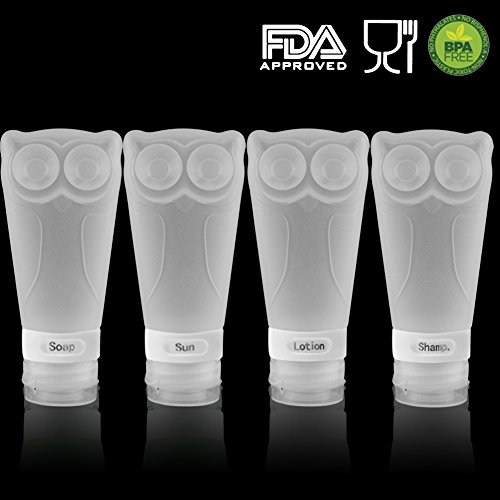 Owl Silicone Travel Bottles, - BPA Free, TSA Airline