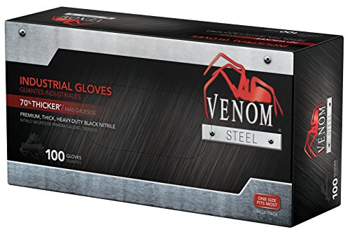 Venom Steel Premium Industrial Nitrile Gloves, Black (Pack of