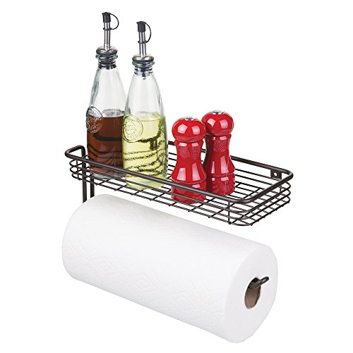 mDesign Paper Towel Holder with Shelf for Kitchen, Laundry
