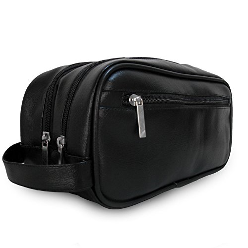 Mister Bag Leather Travel Toiletry Bag for Men or