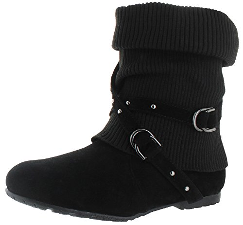 $24.99 Moda Essentials Women's Strappy Buckles Sweater Booties Black Size
