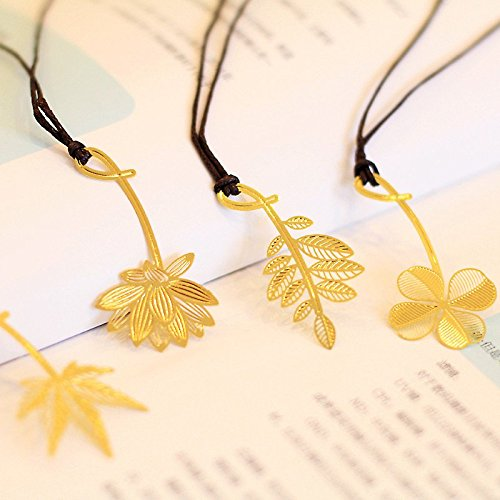 Mziart 4Pcs Metal Bookmarks with Leather String, Gold Plated