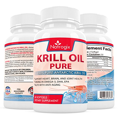 (60 Softgels) Pure Krill Oil 1000mg/Serving - Rich Omega