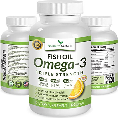 ★ BEST TRIPLE STRENGTH Omega 3 Fish Oil Pills