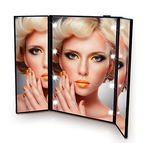Onson Tri-Fold Led Lighted Travel portable Mirror Compact for