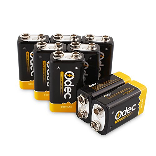 Odec 9V Rechargeable Battery, 8 Pack 600mAh lithium Rechargeable
