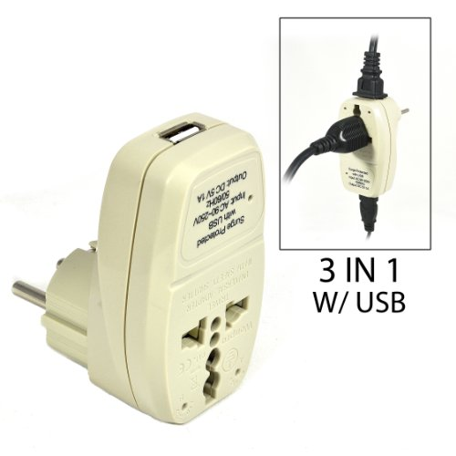 OREI 3 in 1 Schuko Travel Adapter Plug with