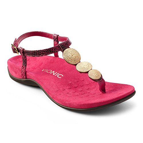 Vionic Lizbeth Womens T-strap Orthotic Sandal Raspberry Snake -
