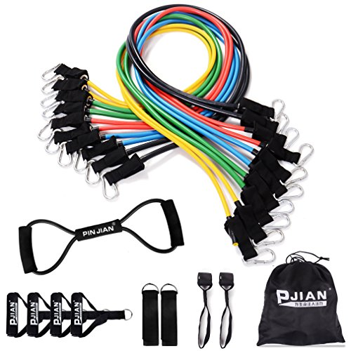 PIN JIAN Rubber Resistance Band Set, 20 Pieces