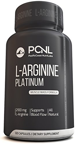 PacificCoast NutriLabs 2100mg L-Arginine, All-Natural Muscle Mass Formula, Free