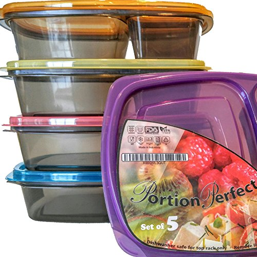 Meal Prep Containers 3 Compartment Lunch Boxes, Set of