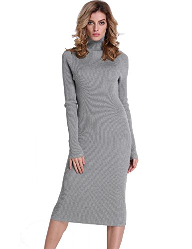PrettyGuide Women Slim Fit Ribbed Turtleneck Long Sleeve Midi