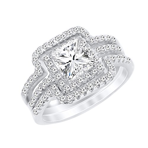 Sterling Silver Promise Ring Princess Cut Cubic Zirconia Triple