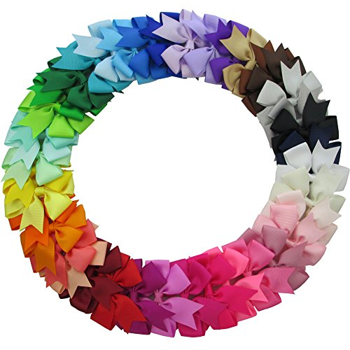 QingHan 40Pcs 3'' Grosgrain Ribbon Pinwheel Boutique Hair Bows
