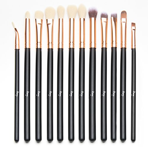 Qivange 12pcs Eye Brush Set, Cosmetics Eyeliner Eyeshadow Blending