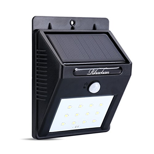 Solar Powered Motion Sensor Light 12 LEDs Wall Light