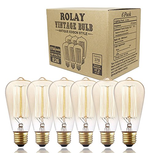 Edison Bulbs, Rolay 60w Dimmable Industrial Pendant Filament Light