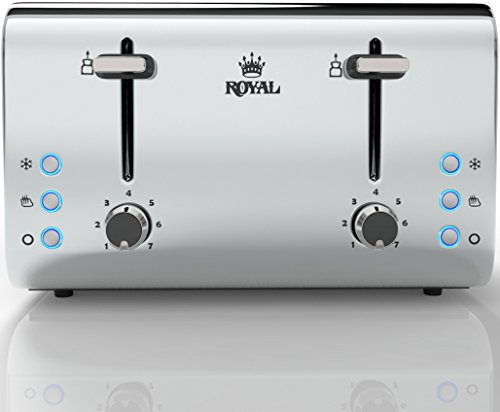 Royal RYL-TOASTER 850 Watts Stainless Steel 4-Slice Toaster