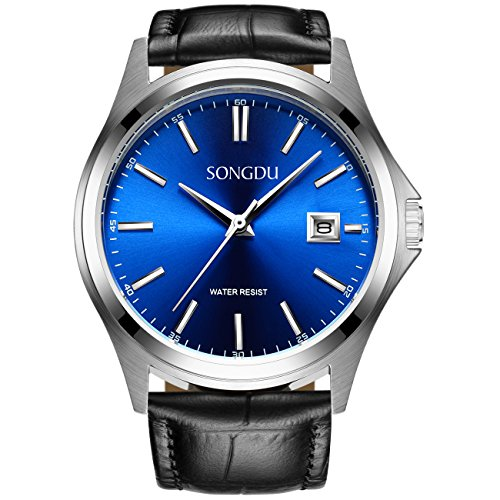 SONGDU Mens Quartz Waterproof Boyfriend Swiss Wrist Watch Blue